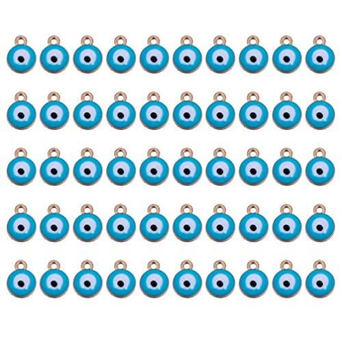 HEALLILY 50 Piezas de Abalorios de Ojo Malvado de Doble Cuentas Redondas de Ojo Malvado Cuentas de Ojo de Muñeca para Hacer Manualidades