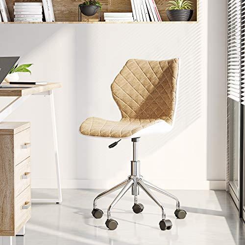 Techni Mobili Modern Height Adjustable Office Task Chair, Beige