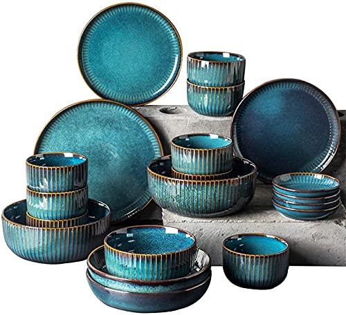 Mini Conjunto de vajillas finas, juego de vajillas, juegos de vajilla de porcelana azul, platos de cerámica y cuencos conjuntos de cenas, creatividad moderna. Esmalte reactivo Platos de gres. Conjunto