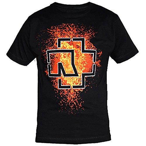Rammstein Rammstein Herren T-Shirt Lava Logo Offizielles Band Merchandise Fan Shirt schwarz mit mehrfarbigem Front und Back Print (M, Schwarz)