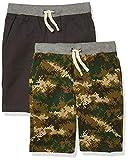 Amazon Essentials Paquete de 2 Pantalones Cortos para Niños, Verde Oliva/Gris Oscuro, Camuflaje, 8 años