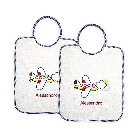 Coccole- Set asilo con nome personalizzato (Bavaglini materna, Aereo blu)