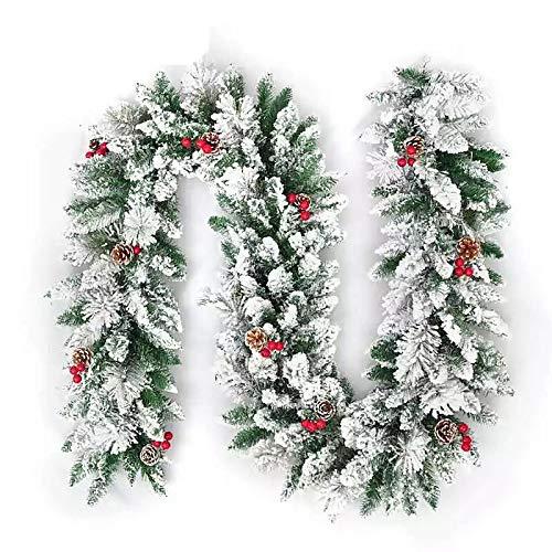 Queta 1.8m Ghirlanda Natalizia, Decorazione Natalizia con Pigne e Bacche Rosse Ghirlanda di Abete Ghirlanda di Rami di Abete