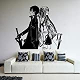 Anime Cartoon Manga Sword Art Online SAO Kirito Kirigaya Kazuto Yuuki Asuna Pareja Etiqueta de la pared Vinilo Calcomanía Boy Fans Dormitorio Sala de estar Decoración para el hogar Mural