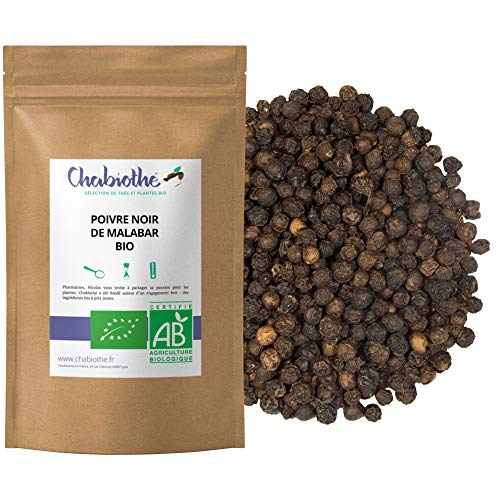 Pimienta Negra BIO 200g - granos enteros orgánico - bolsa biodegradable - Origen Malabar India