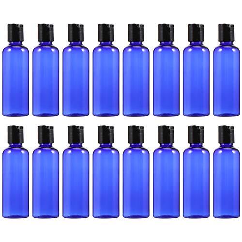 FRCOLOR Paquete de 16 Botellas de Plástico Vacías con Tapa- 3. Botellas Rellenables de 5 Onzas/ 100Ml Botellas de Loción Envases para Champú Lavado Corporal Cremas