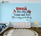 Etiqueta de la pared Etiqueta Engomada Del Vinilo Tren Avión Coche Con Cita Dirty Mud Train Y Juguete Para Niños Niños Playroon Arte Decoración Mural 90X57cm