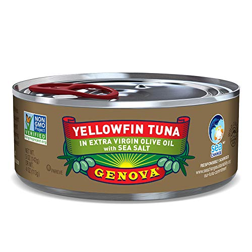Genova Premium Yellowfin Tuna in Extra Virgin Olive Oil with Sea Salt, Wild Caught, Solid Light, 5 oz. Can (Pack of 24)