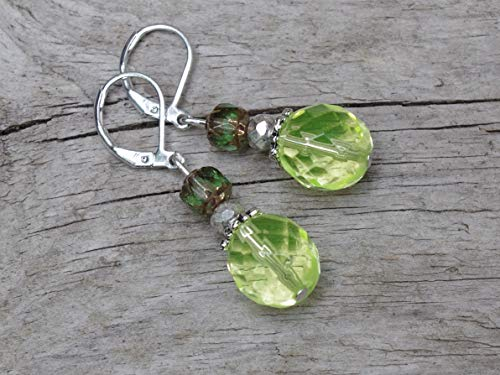 NEU!!! - Vintage Ohrringe mit böhmischen Glasperlen - lemon, Uranglas, grün & silber