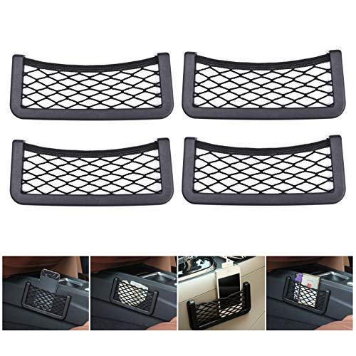 Paquete de 4 redes de almacenamiento de bolsillo para coche, con red de malla elástica para almacenamiento de coche