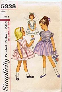 Simplicity 5338 Vintage Sewing Pattern Girls Full Skirt Dress, Flower Girl, First Communion, Vintage Sewing Pattern Check Offers for Size