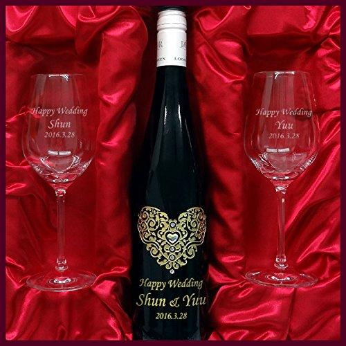 結婚祝いに名入れデコ白ワインドクターローゼンリースリング750ML&名入れペアグラスセット swdrglset