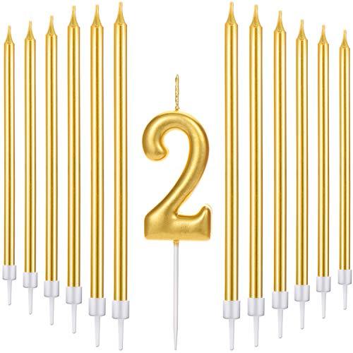 Conjunto de 21 Velas de Tarta de Feliz Cumpleaños Incluye Vela de Número Metálicas, 20 Velas de Cumpleaños Largas Doradas para Boda Cumpleaños Aniversario (Número 2)