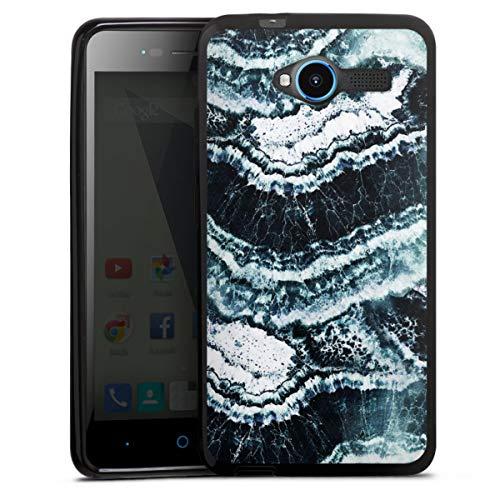 DeinDesign Silikon Hülle kompatibel mit ZTE Blade L3 Case schwarz Handyhülle Marmor Welle Art