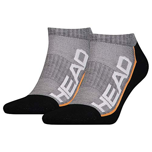 Head Performance Sneaker 2P Calcetines, Grey/Black, 39/42 Unisex Adulto