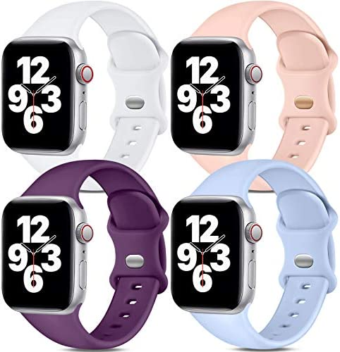 Dirrelo Band Compatible with Apple Watch Bands 38mm 40mm Women Men, [4-Pack] Soft Silicone Strap Wristbands for iWatch Series 3 5 6 4 2 1 SE, Small White, Pinksand, Dark Purple, Purple