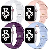 Dirrelo Band Compatible with Apple Watch Bands 38mm 40mm, [4-Pack] Soft Silicone Strap Wristbands for iWatch Series 3 5 6 4 2 1 SE Women Men, Small White, Pinksand, Dark Purple, Purple