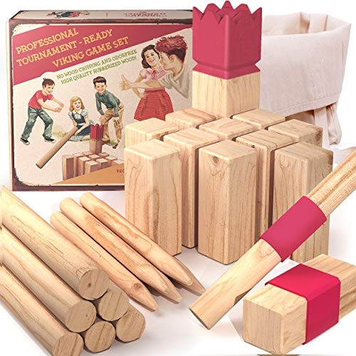aGreatLife Durable Rubber Wood Viking Games | Kubb Yard Game Set - Fun Outdoor Yard Games for All Ages Throwing Game | Jumbo Sequence Board Game with 2 Extra Replacement Woods and a Travel Bag