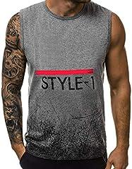Camiseta de Tirantes para Hombre Impresión sin Mangas Sueltos Transpirables Chaleco de Deportes