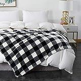Cobertor xadrez COCOPLAY W Xadrez, cobertor de xadrez, veludo de microfibra para todas as estações super luxuoso, leve, quente e aconchegante cobertor para cama, sofá, carro (xadrez branco preto, manta (127 cm x 152 cm))