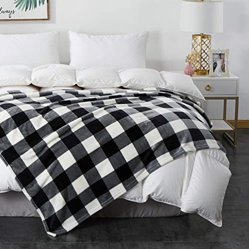 """COCOPLAY W Plaid Throw Blanket, Check Blanket, All Season Microfiber Velvet Super Luxury Lightweight Warm Soft Cozy Blanket for Bed, Couch, Car (Black White Checker, Throw(50"""" x 60""""))"""