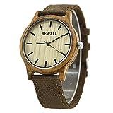Bewell W134A Vigilanza di legno naturale del bewell con tela di canapa durevole orologio da polso di legno del sandalo nero per gli uomini(verde chiaro)