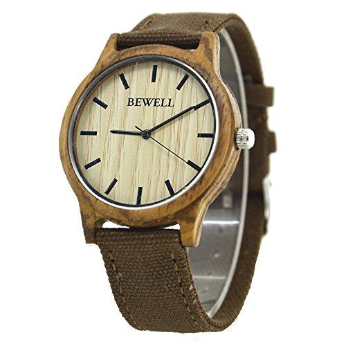 Bewell W134A Vigilanza di legno naturale del bewell con tela di canapa durevole orologio da polso di legno del sandalo nero per gli uomini(Marrone)