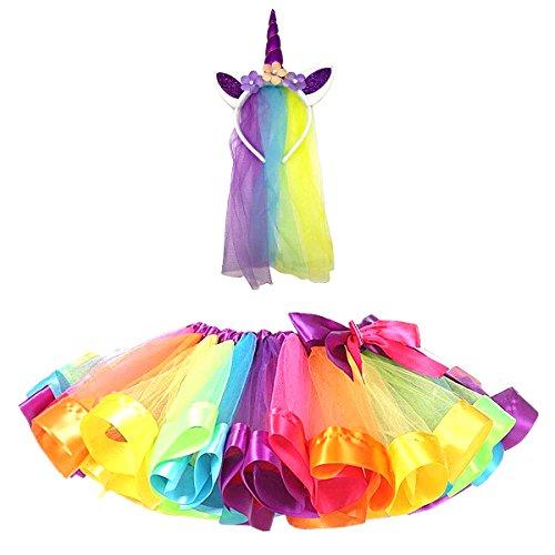 DIXIUZA Mädchen Kinder TüTü Röcke Kostüm mit Einhorn Haarreif für Tanz Party Karneval