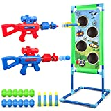 Shooting Game Toy for 5 6 7 8 9 10+ Years Olds Boys and Girls,2 pk Soft Foam Ball Popper Air Toy Guns with Standing Shooting Target, 24 Foam Balls, 2 Launch Modes Toy Guns Set for Kids