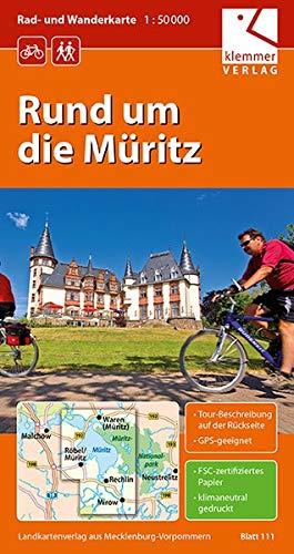 Rad- und Wanderkarte Rund um die Müritz: 1:50.000, GPS geeignet, Touren-Beschreibung auf der Rückseite