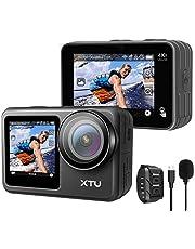 アクションカメラ XTU MAX 4K 60FPS 20MP WiFi搭載 アクションカム 2インチタッチパネル式 デュアルカラースクリーン EIS手ぶれ補正 本機防水 リモコン付き 防水ケース付き 1350mAhバッテリー 水中カメラ/ドライブレコーダー/防犯カメラ/スポーツカメラ/ウェアラブルカメラ 日本語説明書付き