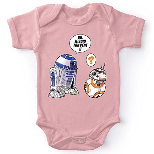 Body bébé Manches Courtes Filles Rose Parodie Star Wars - BB-8 et R2-D2 - BB, Je suis Ton père (Super Deformed Edition)(Body bébé de qualité supérieure de Taille 12 Mois - imprimé en France)
