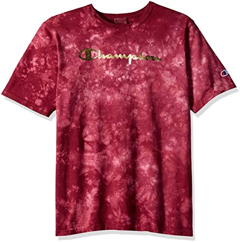 Champion LIFE Men's Scrunch Dye Heritage Tee, Mulled Berry, X-Large