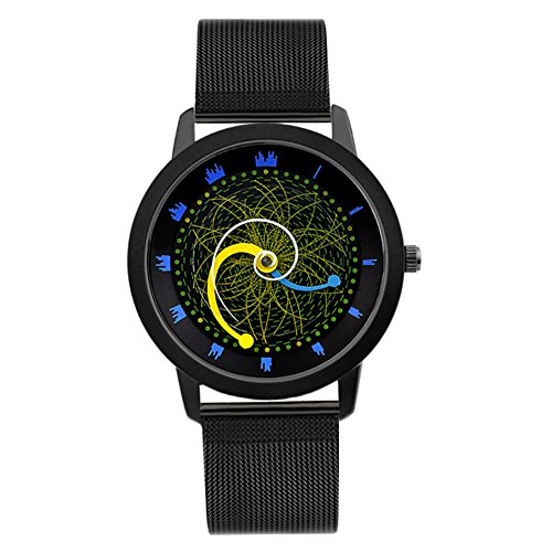Quartz Uhr,Personalisieren Sterne schiene Vortex Konzept-Abschnitt Plattenspieler Pin Buckle Armband Schwarze Armbanduhr Nachhaltige-B