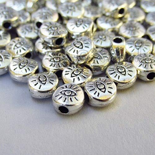 50 Pc Evil Eye Beads 6mm Antiqued Silver Plated for Pendant Bracelet Jewelry Making - Charm Crazy