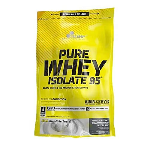 Olimp Pure Whey Isolate 95 600g 0,6kg Molkenprotein Pulver Proteinpulver Protein Powder muskelaufbau Ohne Laktose oder Zucker (Strawberry)