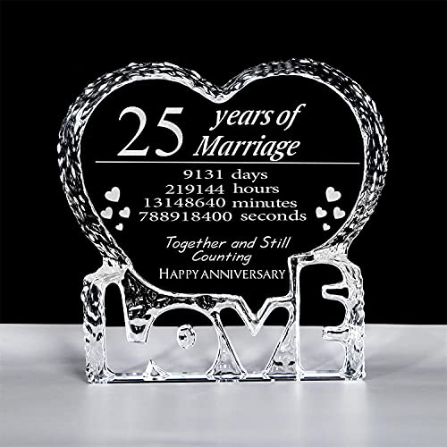 Customized Engraved heart-shaped Crystal , 25 Year 25th Anniversary...