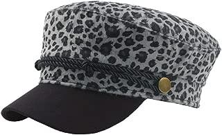 Fashion Hats Autumn Winter Women's Wool Beret Cap Men's Leopard Vintage Flat Top Navy Hat Street Influx Cap Elegant Hats (Color : Gray, Size : 56-58CM)
