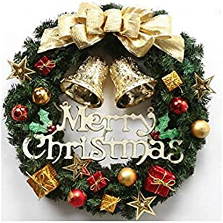 Christmas Party Bow-Knot Christmas Wreath Door Hanging Ornaments Room Christmas Tree Pendants for Decoration(Golden)