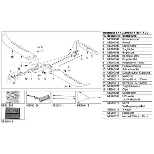 NE201303 - Nine Eagles Leitwerksatz Sky Climber 3G