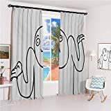 Humor Sun Protection Insulated Bedroom Living Room Curtain Whatever Guy Meme Confusion Gesture Label Creative Drawing Rage Makers Design 2 Panels W72 x L108 Inch Black and White