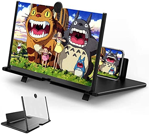 12″ Screen Magnifier, Anti-Blue Light HD Phone Screen Enlarger for Videos, Movies, Games, Foldable Phone Stand with Screen Amplifier, Supports All Smartphones