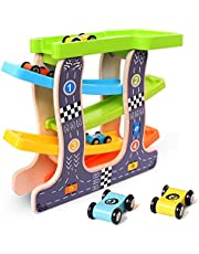 Kingstar 木の スロープ 木のくるま・汽車 滑空車 木製玩具 1歳 2歳 3歳 4歳 スロープトイ