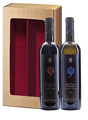 Griechisches Geschenk-Set   Rotwein Syrah trocken 2013 Silbermedaille 2017   Weißwein Malagousia trocken 2016   Geschenkkarton mit Sichtfenster  by ARISTOS (Hochwertige Weine)