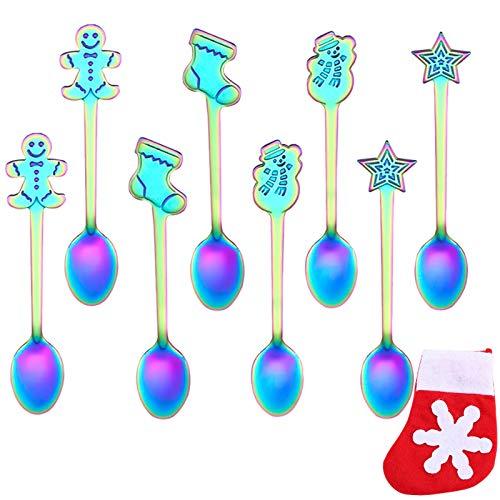 Mini-Zuckerlöffel aus Edelstahl, Weihnachtsdesign, 12,7 cm, mehrfarbig, 8 Stück