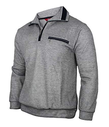 Soltice Herren Langarm Sweatshirt, Strickpullover, Poloshirts aus Baumwoll-Mix (M bis 3XL)(M, [A] Grau)