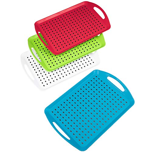 Invero Set of 4 Anti-Slip Top and Bottom Plastic Serving Dish Tray with...