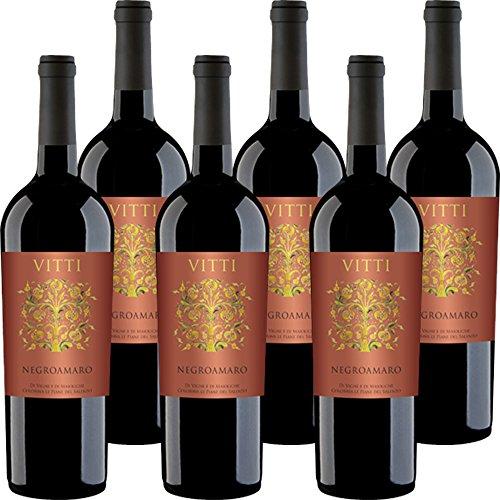Vitti Negroamaro del Salento IGP   Vino Rosso Salentino   Confezione da 6 Bottiglie da 75 Cl   Il Vino della Puglia   Idea Regalo