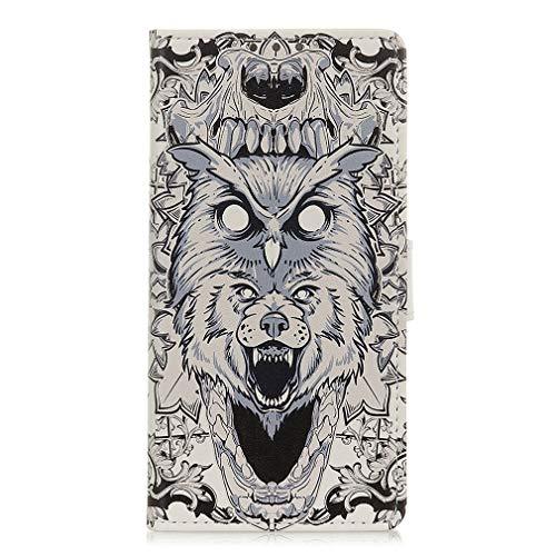LMFULM® Hülle für LG V60 ThinQ 5G (6,8 Zoll) PU Leder Magnet Brieftasche Lederhülle Eule & Lion Muster Stent-Funktion Ledertasche Flip Cover