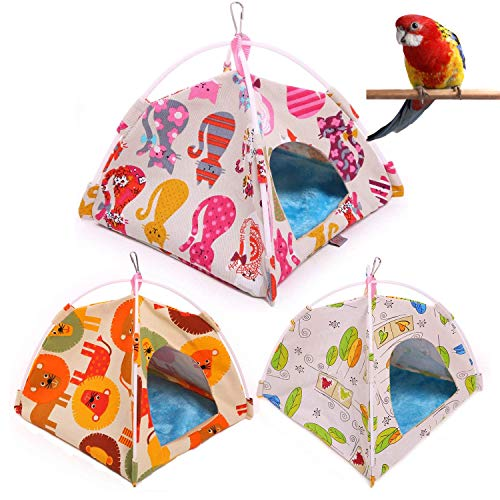 Bird Nest Hut Hammock—Parrot Tent House Bed Habitat Hideaway Reversible Cushion Mat Placed onto The Birdcage by a Metal Clasp,Fit for Budgerigar Parakeet Macaw Amazon Cockatoo Lovebird (M, Cat)